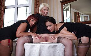 Three horny mature ladies getting wet on the couch